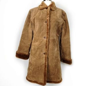 Leather Vintage suade sherpa midi coat jacket